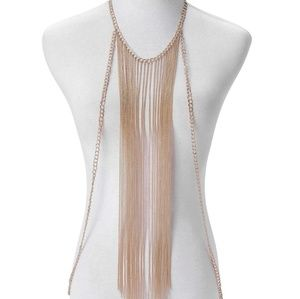 Jewelry - Diva Goldtone Chain Necklace LONG AND DRAMATIC NWT